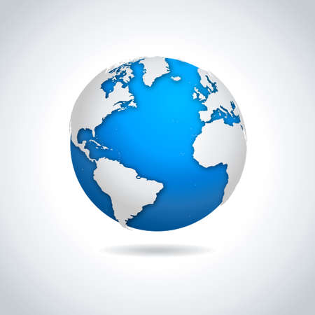 Illustration pour Vector illustration of blue-white globe symbol with drop shadow effect. - image libre de droit