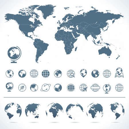 Illustration pour World Map, Globes Icons and Symbols - Illustration. Vector set of world map and globes. - image libre de droit