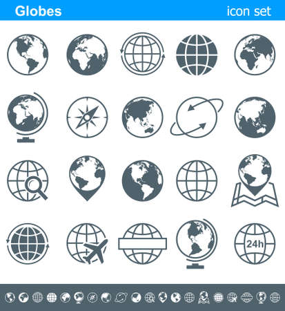 Illustration for Globes Icons and Symbols - Illustration. Vector set of globe icons. - Royalty Free Image