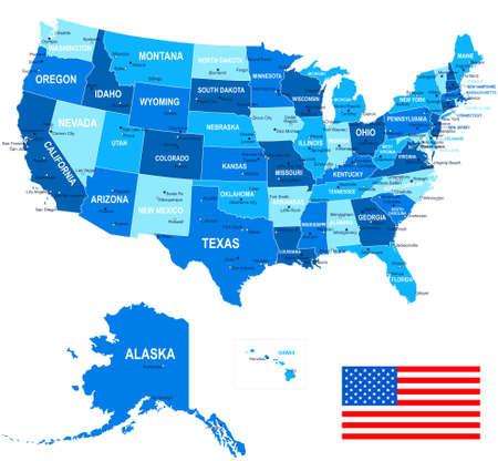 Illustration pour United States USA - map, flag and navigation icons - illustration. - image libre de droit