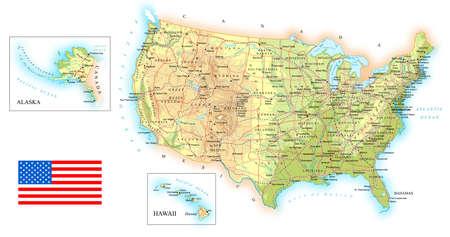 Illustration pour USA - detailed topographic map - illustration. - image libre de droit