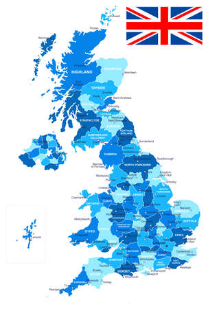 Illustration pour Map of Great Britain and flag - highly detailed vector illustration. Image contains land contours, country and land names, city names, water object names, flag. - image libre de droit