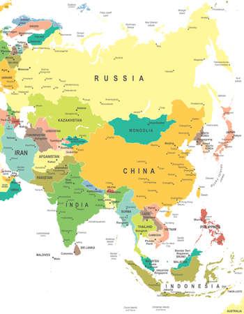 Illustration pour Asia map - highly detailed vector illustration - image libre de droit