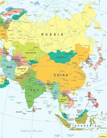 Ilustración de Vector illustration of Asia map. - Imagen libre de derechos