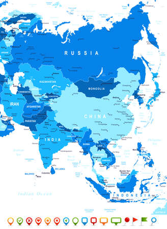 Illustration pour ASIA map - highly detailed vector illustration. Image contains land contours, country and land names, city names, water object names, navigation icons. - image libre de droit