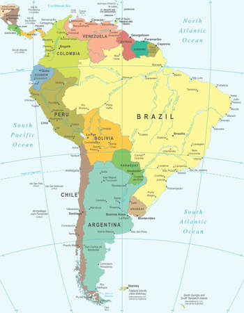 Illustration for South America - map - illustration. - Royalty Free Image