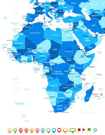 Illustration for Africa - map and navigation icons - illustration. - Royalty Free Image
