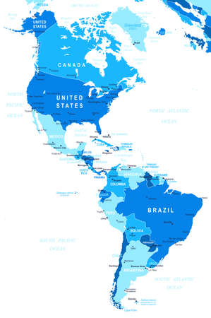 Illustration for North and South America map - highly detailed vector illustration. - Royalty Free Image