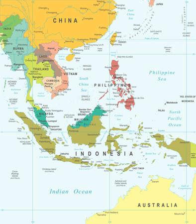 Illustration pour Southeast Asia map - highly detailed vector illustration. - image libre de droit