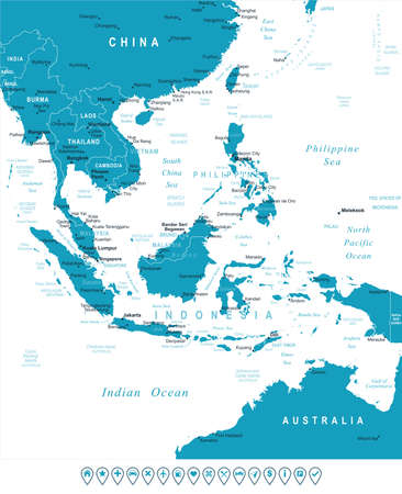 Illustration pour Southeast Asia map - highly detailed vector illustration. Image contains land contours, country and land names, city names, water object names, navigation icons. - image libre de droit