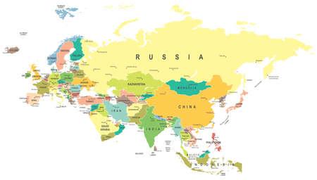 Illustration pour Eurasia map - highly detailed vector illustration. - image libre de droit