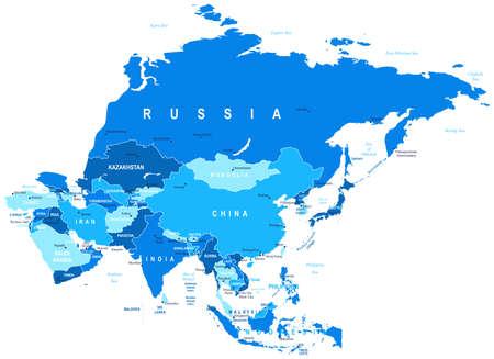 Illustration pour Asia - map - illustration. - image libre de droit