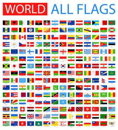 Illustration pour All World Vector Flags. Vector Collection of Flat Flags. - image libre de droit