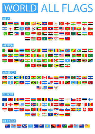 Illustration pour All World Vector Flags. Vector Collection of Flat Flags. Sorted by Continents. - image libre de droit
