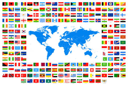 Illustration pour All Flags and World Map. Vector Collection of World Flags and Map. - image libre de droit