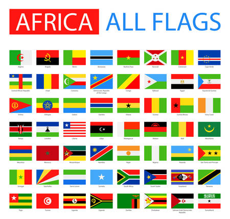 Illustration for Flags of Africa - Full Vector Collection. Vector Set of Flat African Flags. - Royalty Free Image