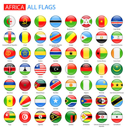 Illustration pour Round Glossy Flags of Africa - Full Collection. Set of African Flag Buttons. - image libre de droit