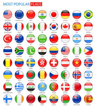 Illustration pour Round Glossy Most Popular Flags - Collection. Set of National Flag . - image libre de droit