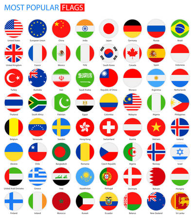 Illustration pour Flat Round Most Popular Flags - Vector Collection. Vector Set of National Flag Icons. - image libre de droit