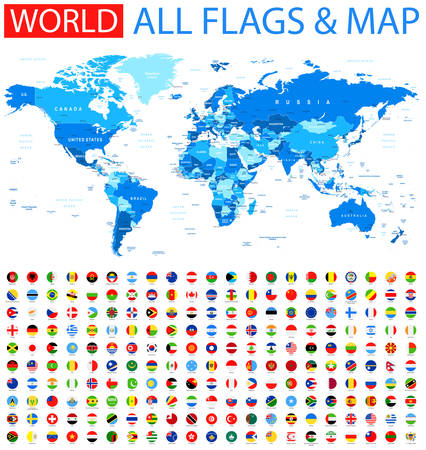 Illustration pour All Round Flags and World Map - image libre de droit
