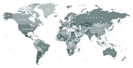 Illustration pour Grayscale World Map - borders, countries and cities - illustration - image libre de droit