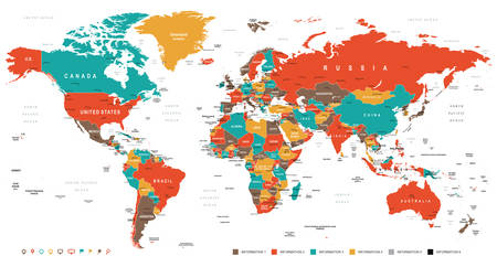 Illustration pour Green Red Yellow Brown World Map - borders, countries and cities - illustration - image libre de droit