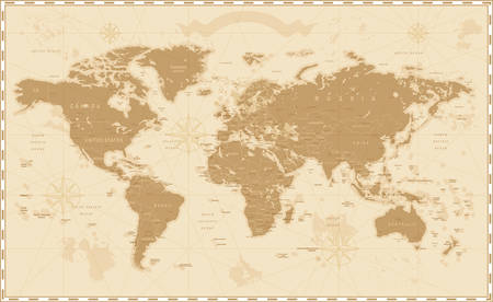 Illustration pour Old Vintage Retro World Map - image libre de droit