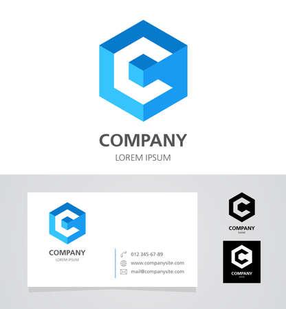 Foto de Letter C - Logo Design Element with Business Card - illustration - Imagen libre de derechos