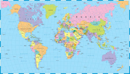 Illustration pour Colored World Map - borders, countries and cities - illustration - image libre de droit