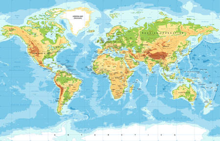 Illustration pour Vector Physical World Map - image libre de droit
