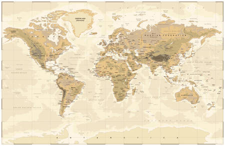 Illustration pour Vintage Old Vector World Map - image libre de droit