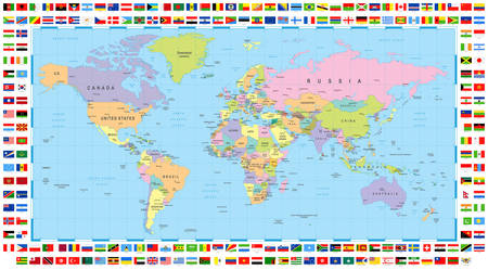 Illustration pour Political World Map and Flags - image libre de droit