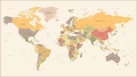 Illustration pour Vector Illustration of Retro World Map - image libre de droit