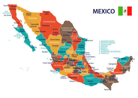 Illustration for Mexico map and flag - highly detailed vector illustration - Royalty Free Image
