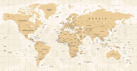 Illustration for World Map Vintage Vector. High detailed illustration of worldmap - Royalty Free Image