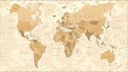 Illustration for World Map Vintage Vector illustration - Royalty Free Image