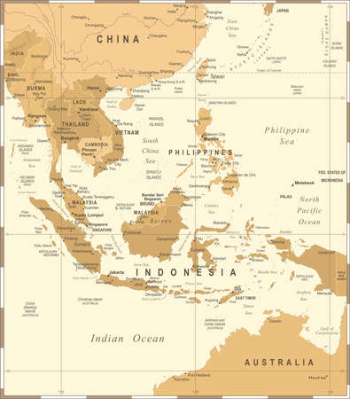 Illustration for Southeast Asia Map - Vintage Detailed Vector Illustration - Royalty Free Image