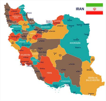 Ilustración de Iran map and flag - High Detailed Vector Illustration - Imagen libre de derechos