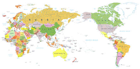 Illustration for World map color, Asia in center vector. - Royalty Free Image