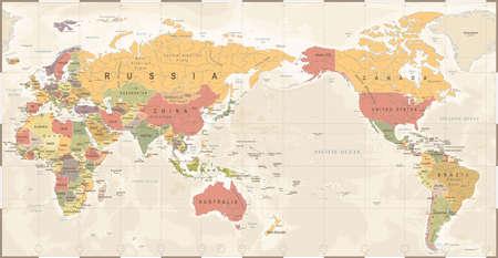 Illustration pour World map vintage old retro, Asia in center vector. - image libre de droit
