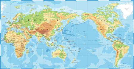 Illustration for Political physical topographic colored world map pacific centered vector icon. - Royalty Free Image