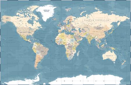 Illustration pour Political Physical Topographic Colored World Map Vector illustration - image libre de droit