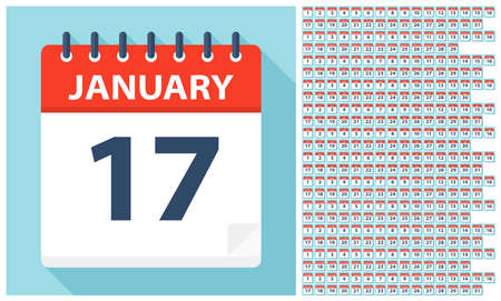 Illustration for January 1 - December 31 - Calendar Icons. All days of year. Vector Illustration - Royalty Free Image
