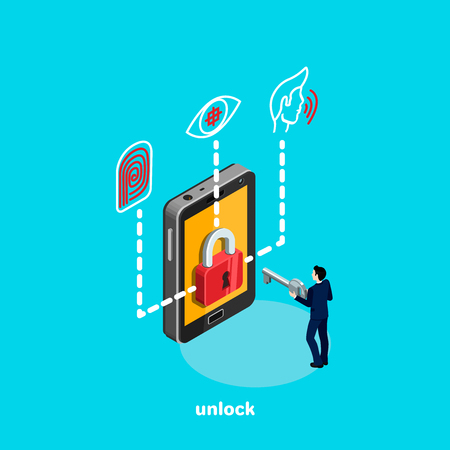 Ilustración de unlock smartphone and identity system, a man in a business suit with a key in his hands, an isometric image - Imagen libre de derechos