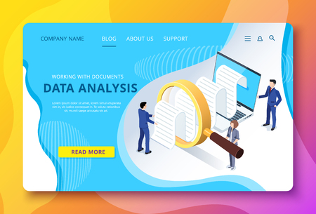 Ilustración de isometric vector image of a landing page, people in business suits study documentation through a magnifying glass on a laptop screen - Imagen libre de derechos