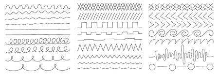 Illustration for linear vector image on a white background, a set of geometric lines and shapes, elements of decor and design - Royalty Free Image