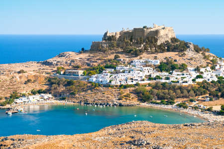 Photo for Acropolis in the ancient greek town Lindos, Rhodes island, Greece - Royalty Free Image