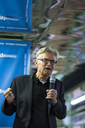 Foto de VORONEZH, RUSSIA - NOV 9, 2019: Eduard Limonov - Russian writer, poet, essayist, politician, founder and former leader of the banned National Bolshevik Party, died Mar 17, 2020 (77 years old) - Imagen libre de derechos