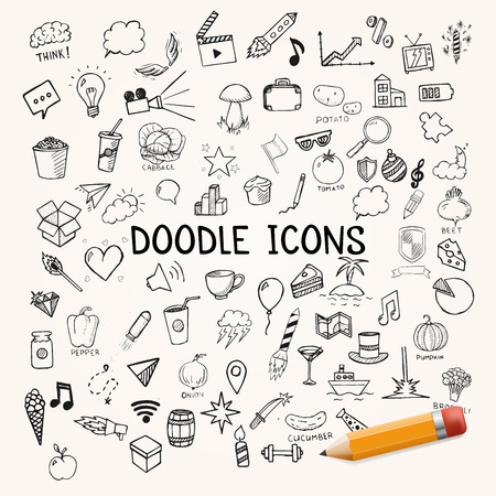 Illustration for Set of doodles icons, vector hand-drawn objects, illustration - Royalty Free Image