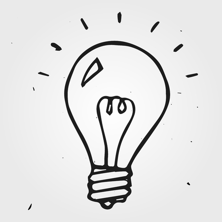 Illustrazione per light bulb hand drawn, doodle icon - Immagini Royalty Free
